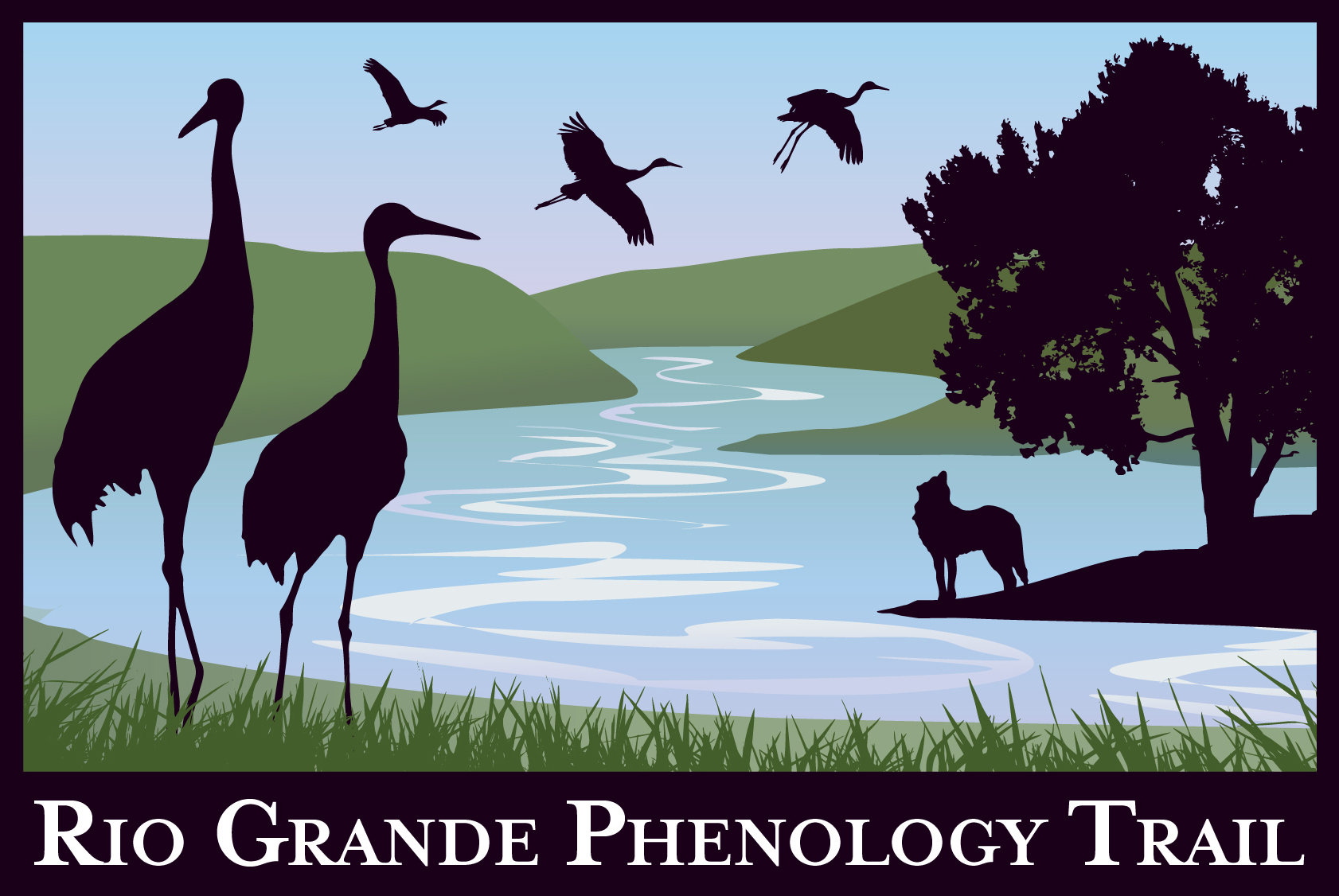 Logo shows Sandhill Cranes and coyote with cottonwood tree along the Rio Grande